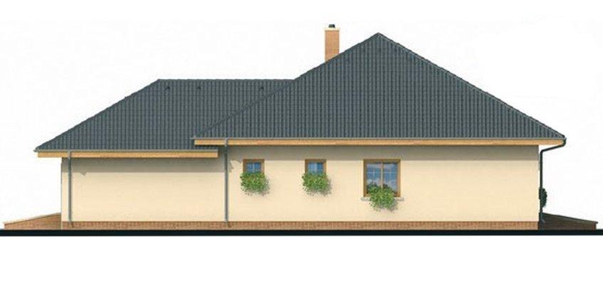 Pohľad 2. - Projekt rodinného domu s jednogarážou a podkrovím, ktoré si môžete ľubovoľne zariadiť. Dom je v tvare do L.