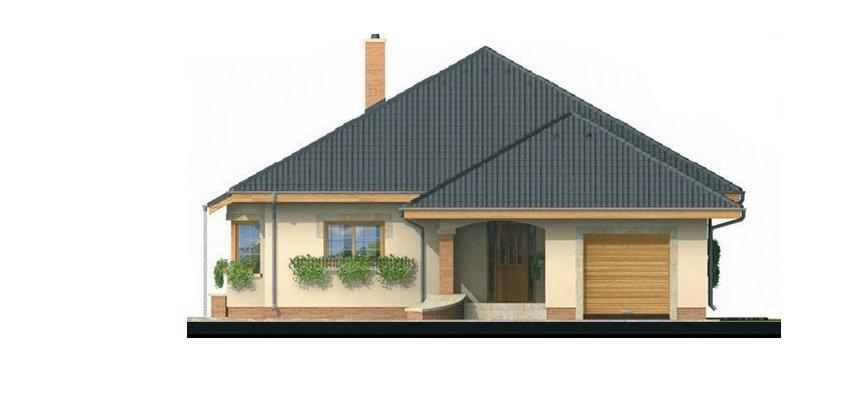 Pohľad 1. - Projekt rodinného domu s jednogarážou a podkrovím. Dom je v tvare do L.