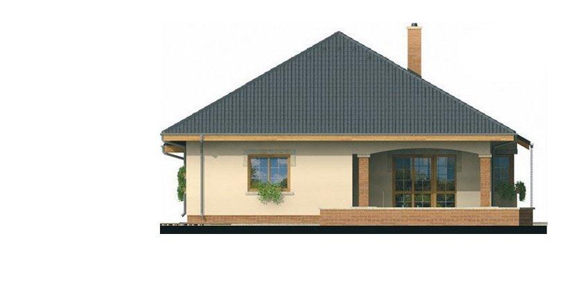 Pohľad 3. - Projekt rodinného domu s jednogarážou a podkrovím. Dom je v tvare do L.