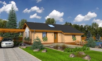 Lacný úzky dom na malý pozemok so sedlovou strechou, presvetlený strešnými oknami Velux. Efekt podkrovia na prízemí.