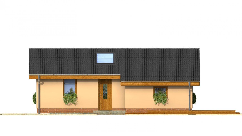Pohľad 1. - Lacný úzky dom na malý pozemok so sedlovou strechou, presvetlený strešnými oknami Velux. Efekt podkrovia na prízemí.