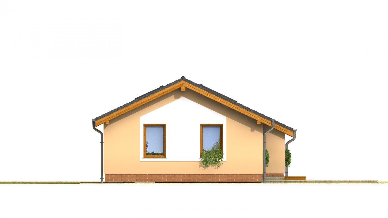 Pohľad 2. - Lacný úzky dom na malý pozemok so sedlovou strechou, presvetlený strešnými oknami Velux. Efekt podkrovia na prízemí.