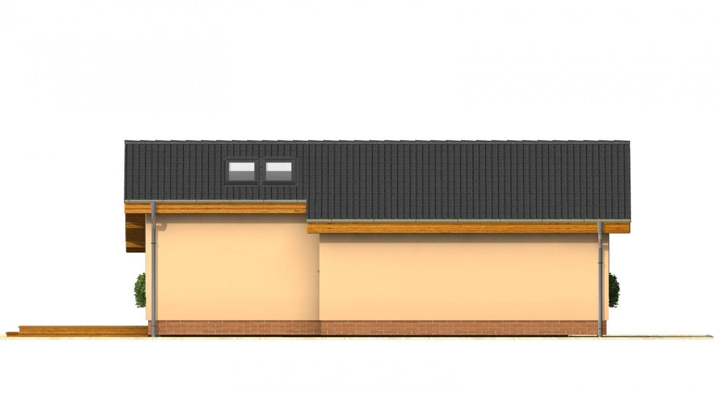 Pohľad 3. - Lacný úzky dom na malý pozemok so sedlovou strechou, presvetlený strešnými oknami Velux. Efekt podkrovia na prízemí.