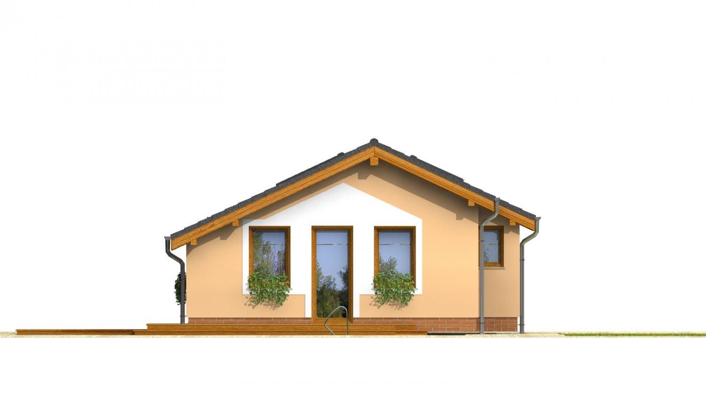 Pohľad 4. - Lacný úzky dom na malý pozemok so sedlovou strechou, presvetlený strešnými oknami Velux. Efekt podkrovia na prízemí.