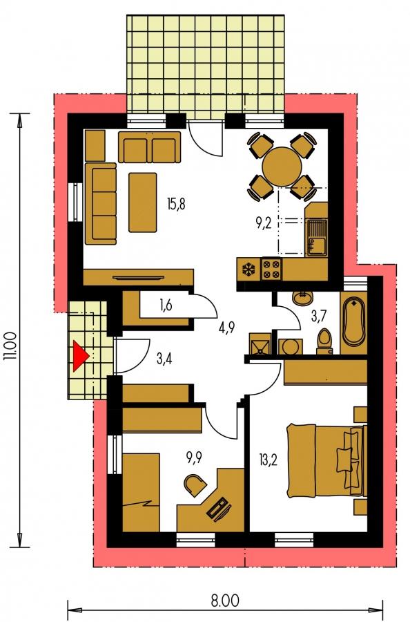 Pôdorys Prízemia - Lacný úzky dom na malý pozemok so sedlovou strechou, presvetlený strešnými oknami Velux. Efekt podkrovia na prízemí.