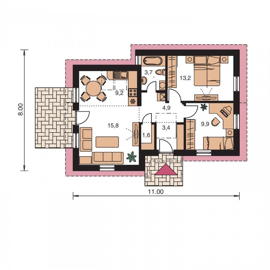 Pôdorys Prízemia - Úsporný úzky dom so sedlovou strechou