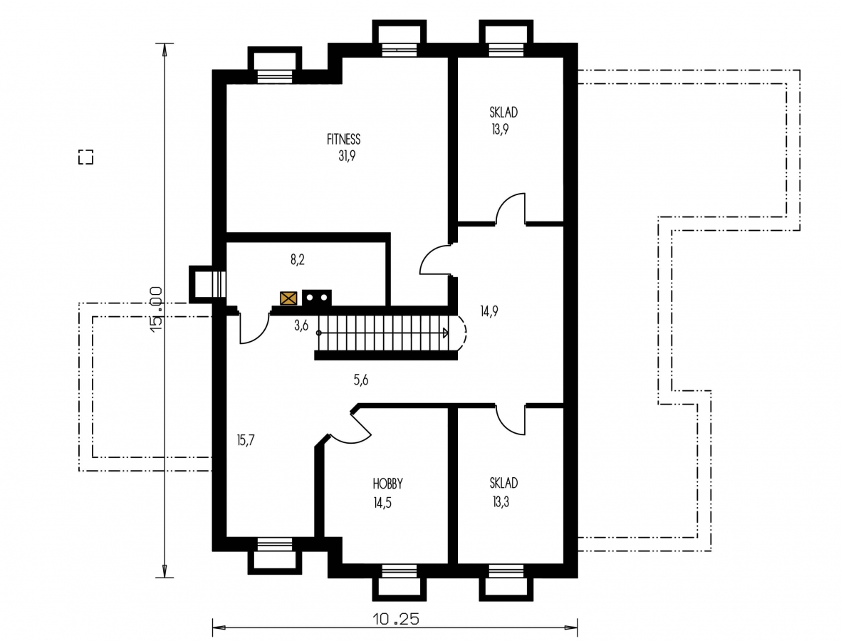 Pôdorys Suterénu - Veľký dom s pivnicou a garážou.