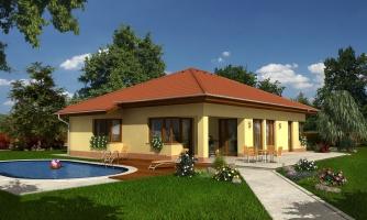 Dom s rohovými oknami a krytou terasou