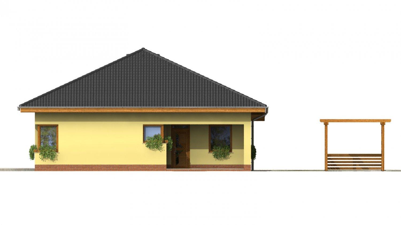 Pohľad 1. - Dom s rohovými oknami a krytou terasou.