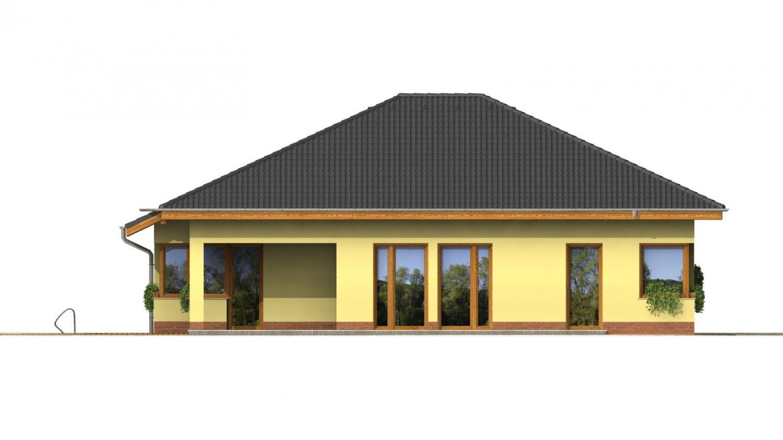Pohľad 2. - Dom s rohovými oknami a krytou terasou.