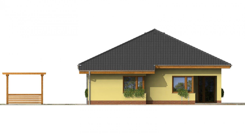 Pohľad 3. - Dom s rohovými oknami a krytou terasou.