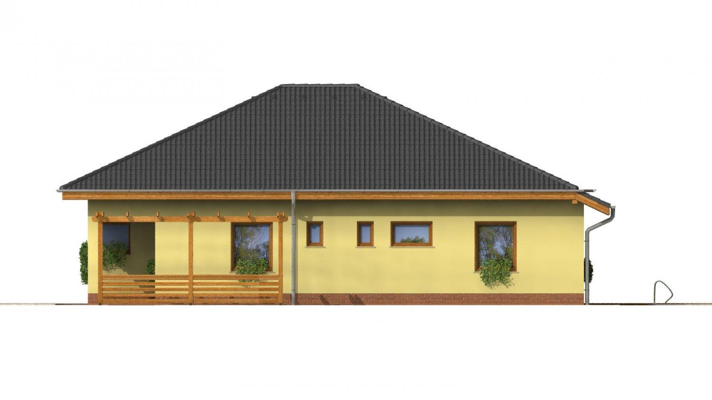 Pohľad 4. - Dom s rohovými oknami a krytou terasou.