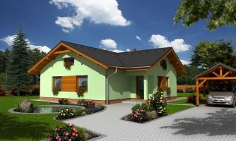 Murovaný dom s bočným vstupom a sedlovými strechami