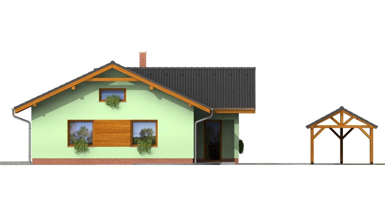 Pohľad 4. - Murovaný dom s bočným vstupom a sedlovými strechami.