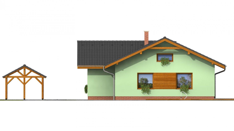 Pohľad 2. - Murovaný dom s bočným vstupom a sedlovými strechami.