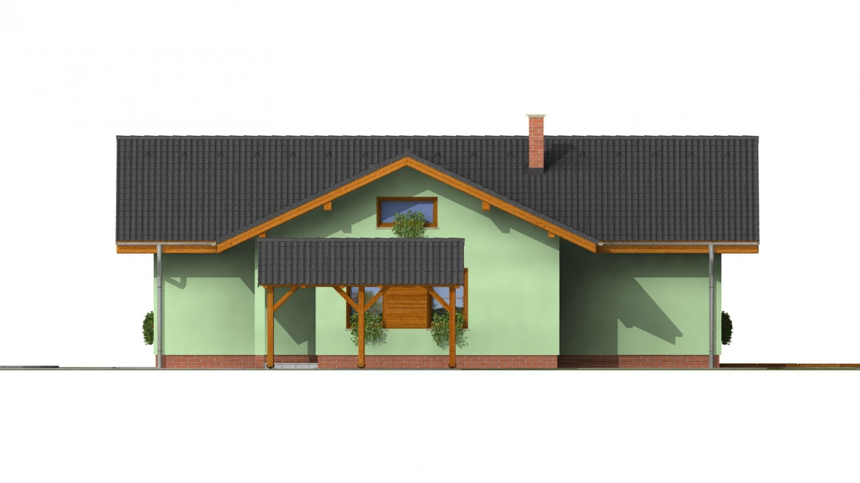 Pohľad 3. - Murovaný dom s bočným vstupom a sedlovými strechami.