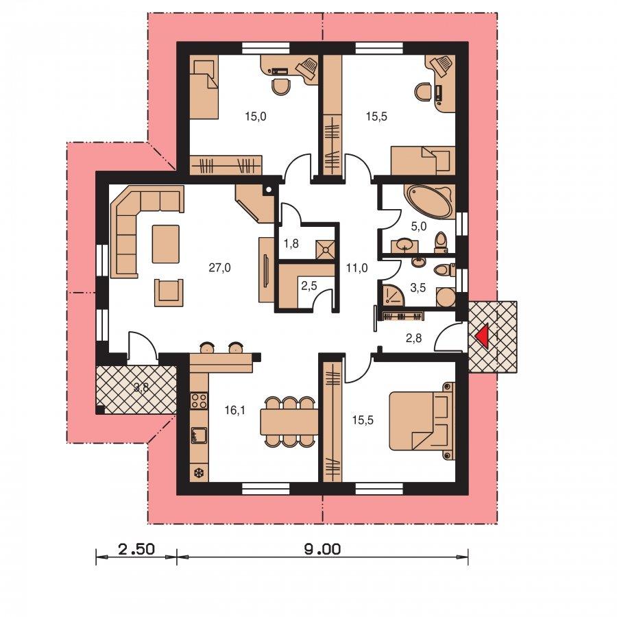 Pôdorys Prízemia - Murovaný dom s bočným vstupom a sedlovými strechami