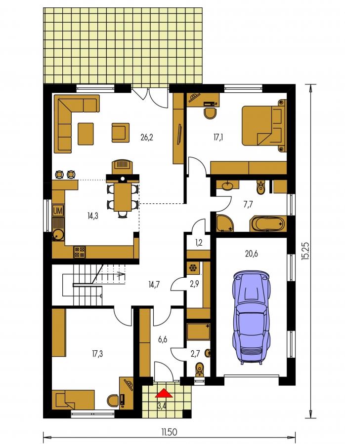 Pôdorys Prízemia - Rodinný dom s garážou a obytným podkrovím