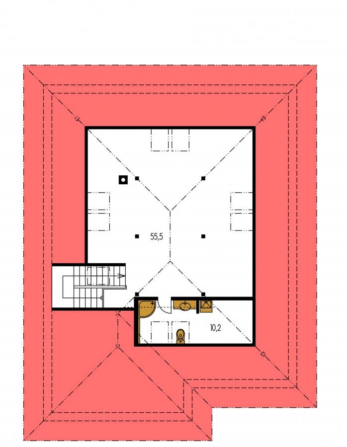 Pôdorys Poschodia - Rodinný dom s garážou a obytným podkrovím.