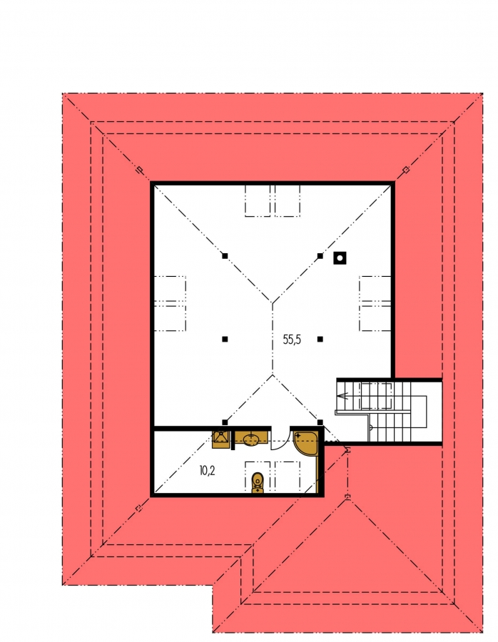 Pôdorys Poschodia - Rodinný dom s garážou a obytným podkrovím