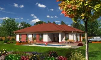 3 - izbový prízemný rodinný dom s rohovým krbom a garážou.