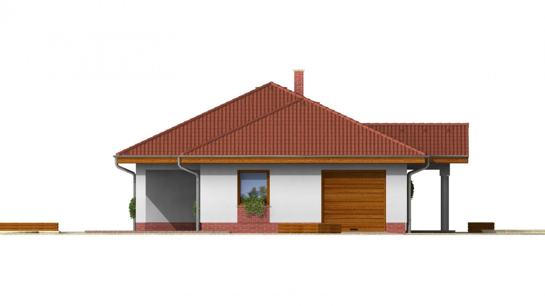 Pohľad 1. - 3 - izbový prízemný rodinný dom s rohovým krbom a garážou.