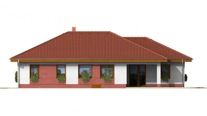 Pohľad 2. - 3 - izbový prízemný rodinný dom s rohovým krbom a garážou.