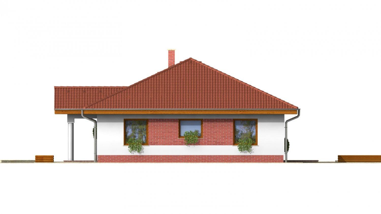 Pohľad 3. - 3 - izbový prízemný rodinný dom s rohovým krbom a garážou.