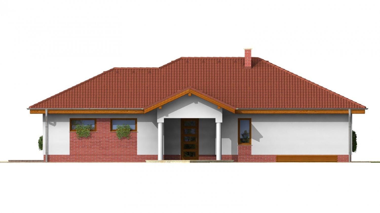 Pohľad 4. - 3 - izbový prízemný rodinný dom s rohovým krbom a garážou.