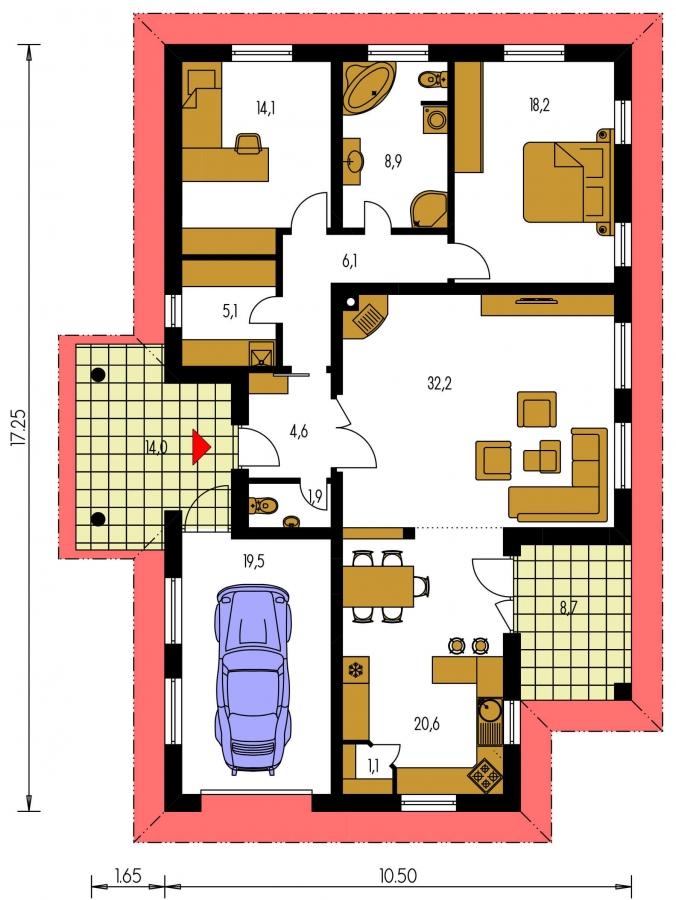 Pôdorys Prízemia - 3 - izbový prízemný rodinný dom s rohovým krbom a garážou.