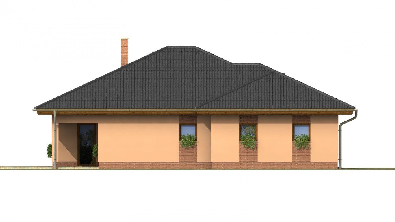 Pohľad 2. - Nádherný dom s dvojgarážou. Vstup so spálne na krytú terasu.