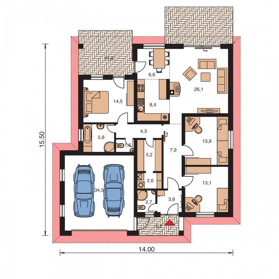 Pôdorys Prízemia - Nádherný dom s dvojgarážou a terasou