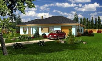 Dom v tvare L s garážou a oddelenou dennou a nočnou časťou