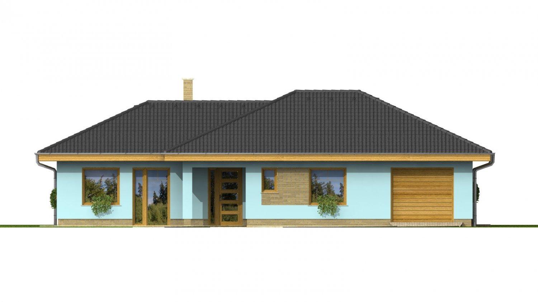 Pohľad 1. - Dom v tvare L s garážou a oddelenou dennou a nočnou časťou.