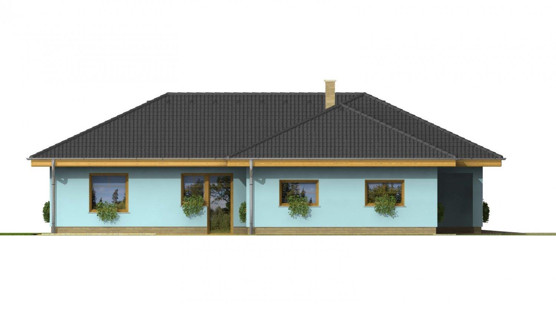 Pohľad 2. - Dom v tvare L s garážou a oddelenou dennou a nočnou časťou.
