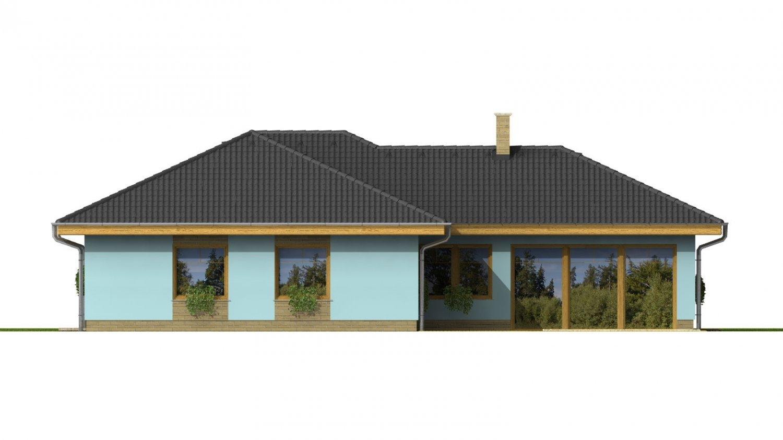 Pohľad 3. - Dom v tvare L s garážou a oddelenou dennou a nočnou časťou.
