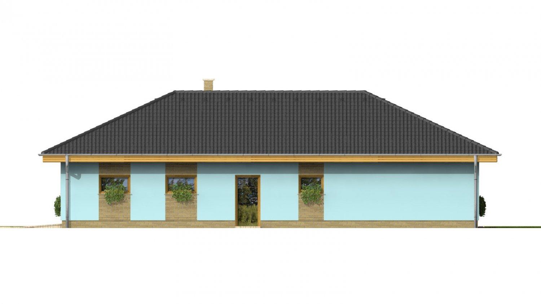 Pohľad 4. - Dom v tvare L s garážou a oddelenou dennou a nočnou časťou.