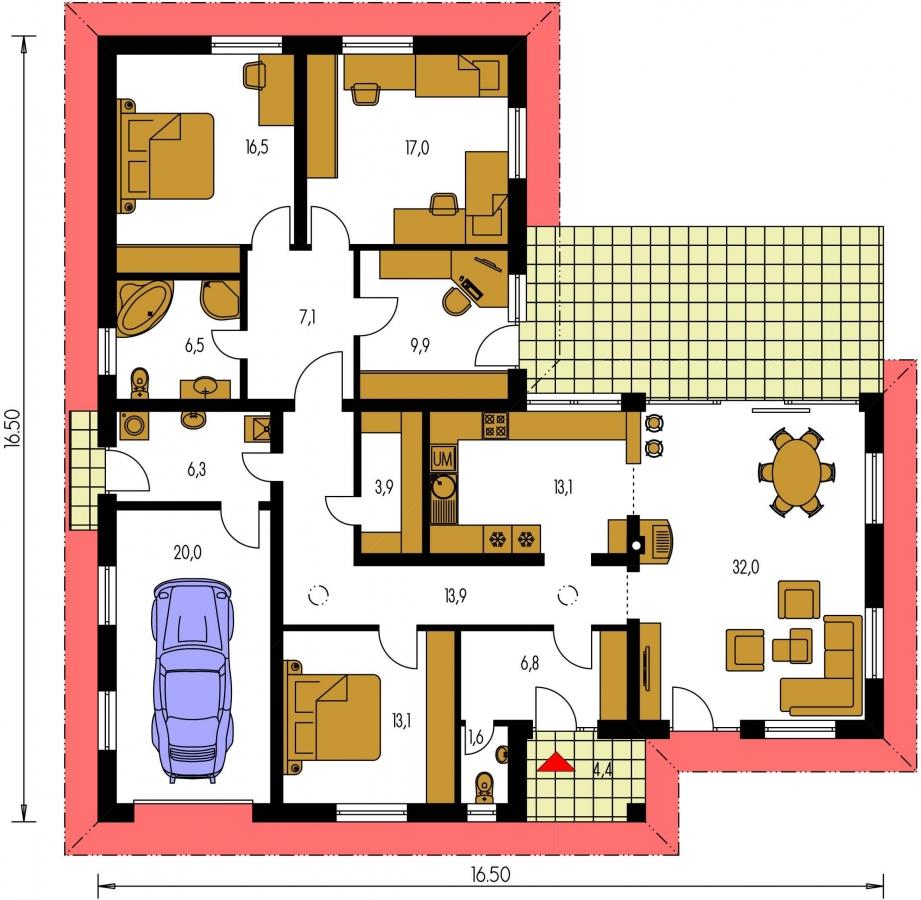 Pôdorys Prízemia - Dom v tvare L s garážou a oddelenou dennou a nočnou časťou.