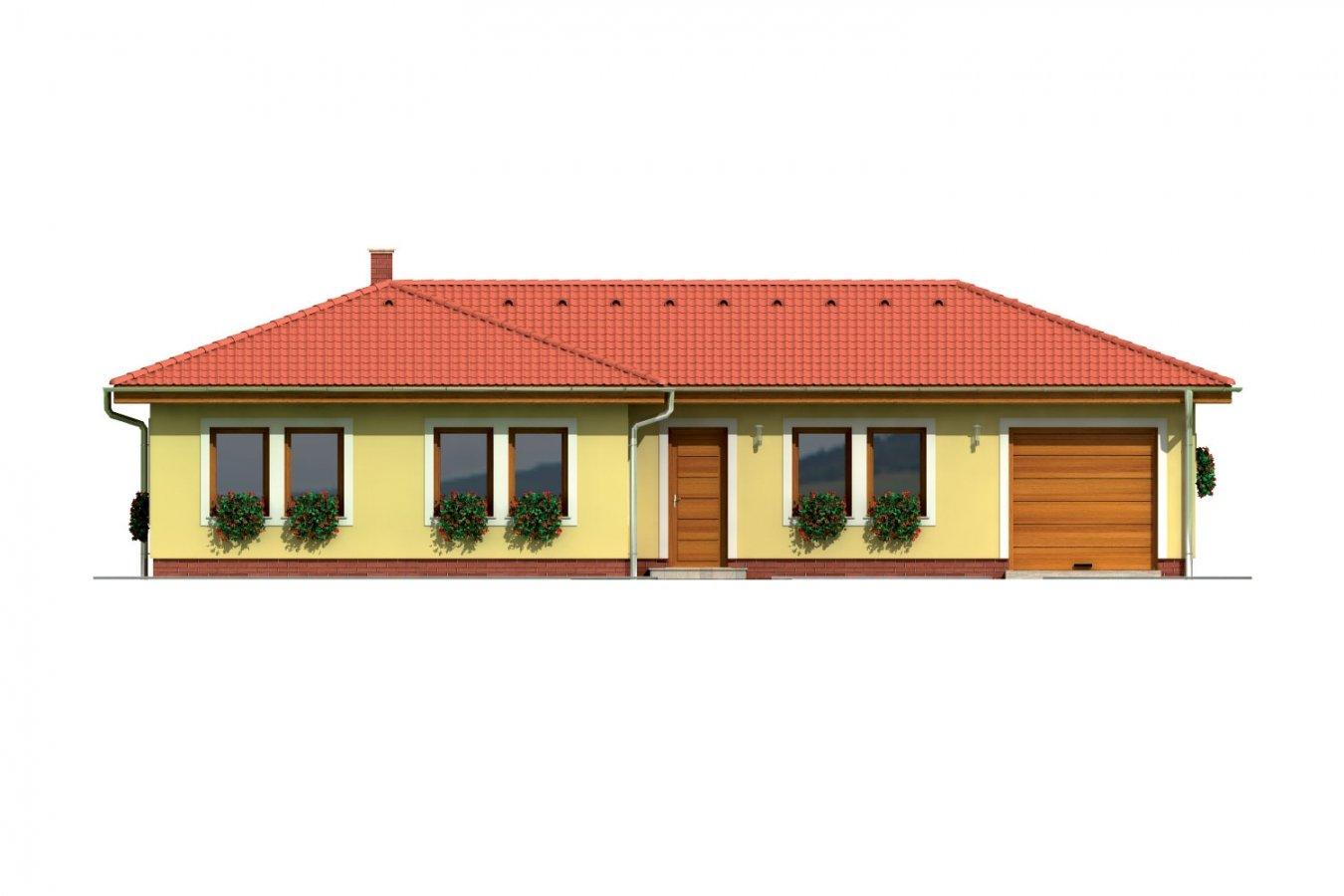 Pohľad 1. - Projekt domu v tvare L do ulice. Veľký 6-izbový rodinný dom s garážou.