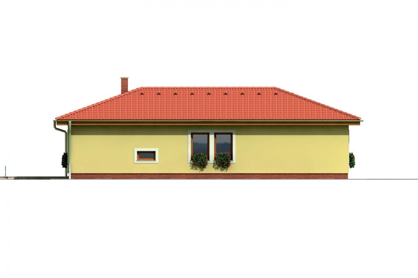 Pohľad 2. - Projekt domu v tvare L do ulice. Veľký 6-izbový rodinný dom s garážou.