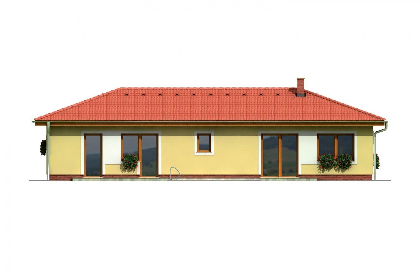 Pohľad 3. - Projekt domu v tvare L do ulice. Veľký 6-izbový rodinný dom s garážou.