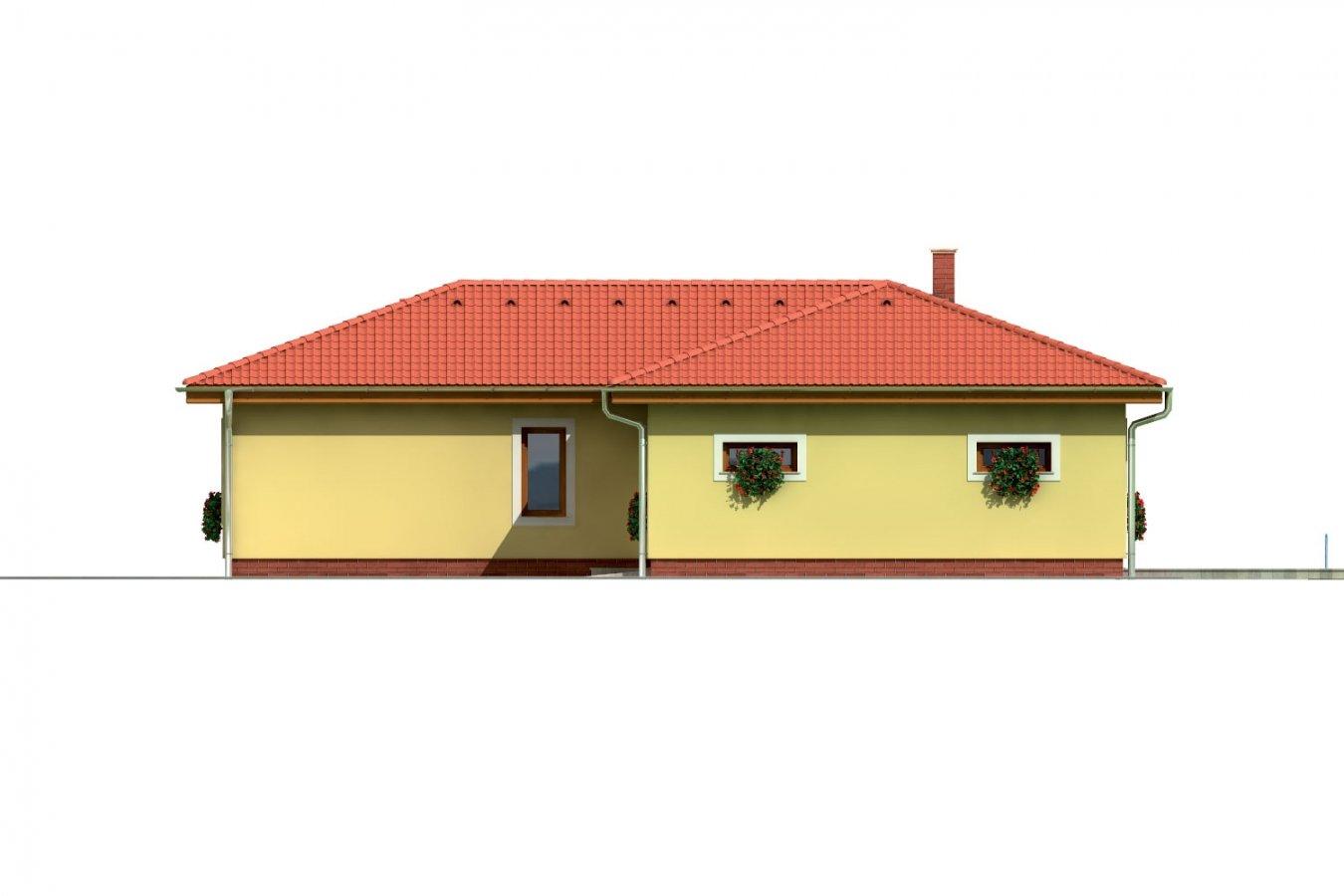 Pohľad 4. - Projekt domu v tvare L do ulice. Veľký 6-izbový rodinný dom s garážou.