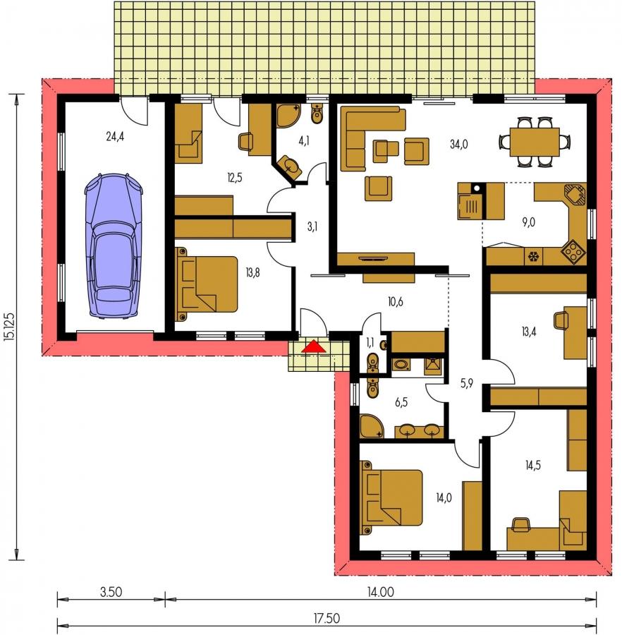 Pôdorys Prízemia - Projekt domu v tvare L do ulice. Veľký 6-izbový rodinný dom s garážou.