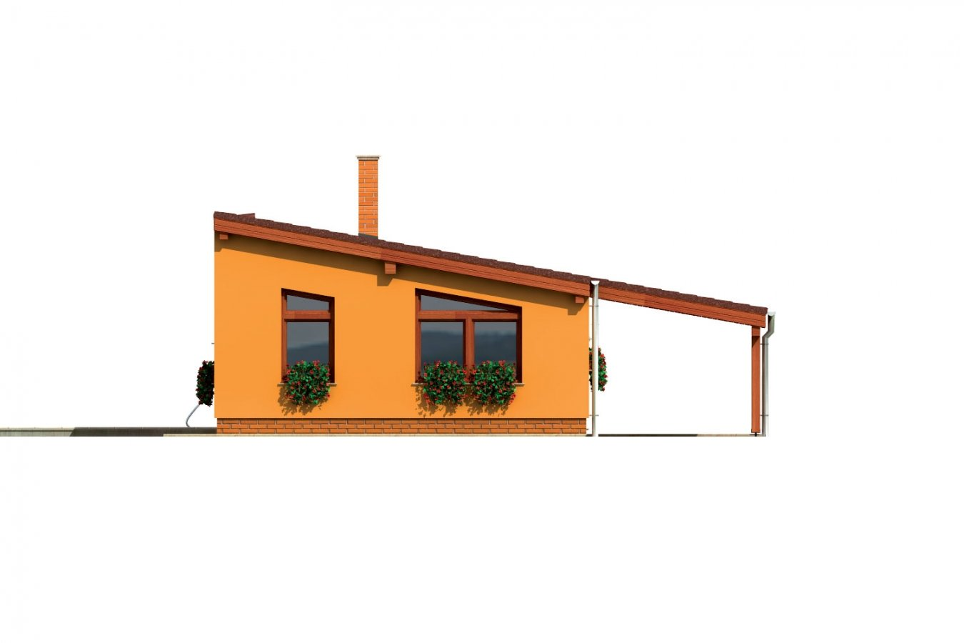 Pohľad 1. - Úzky moderný rodinný domček pre mladých.