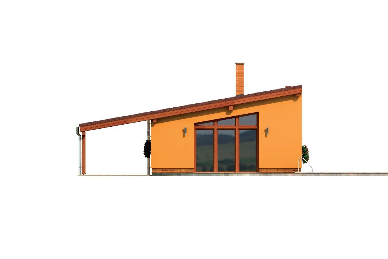 Pohľad 3. - Úzky moderný rodinný domček pre mladých.