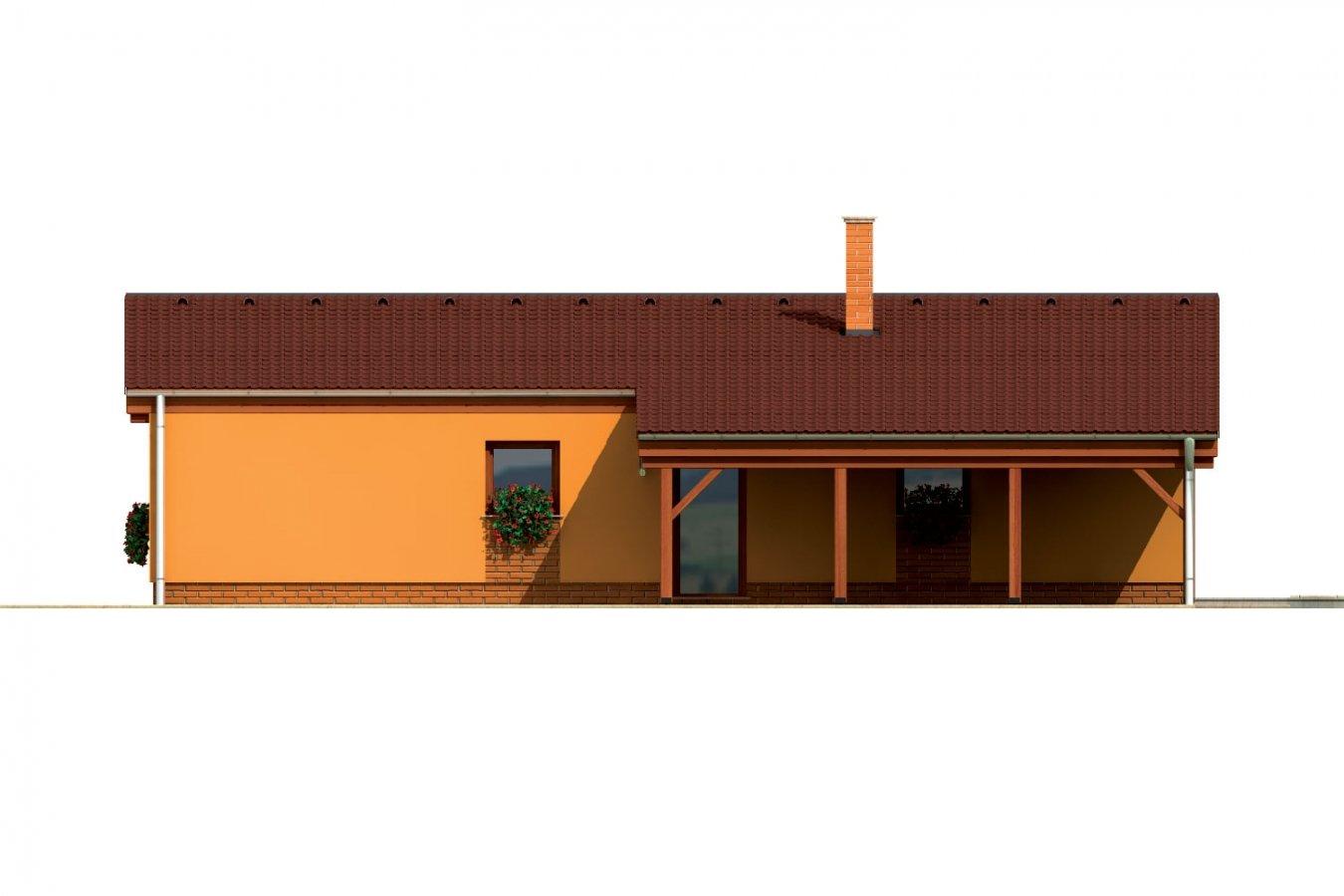 Pohľad 4. - Úzky moderný rodinný domček pre mladých.