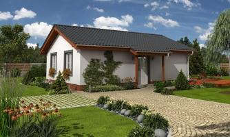 Obľúbený murovaný rodinný  dom na malý pozemok s tromi izbami a sedlovou strechou.