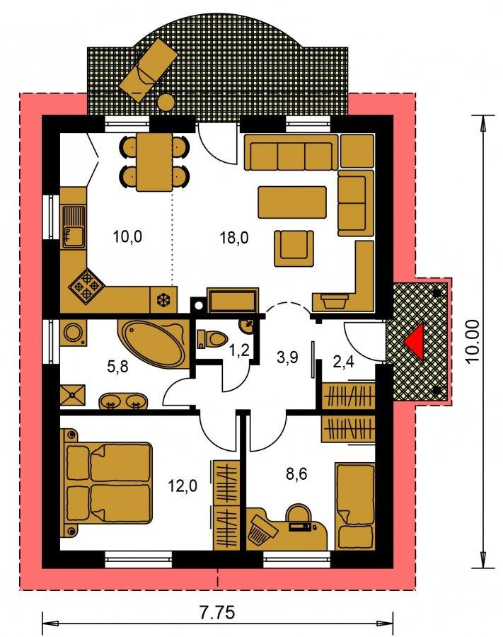 Pôdorys Prízemia - Obľúbený murovaný rodinný dom na malý pozemok s tromi izbami a sedlovou strechou