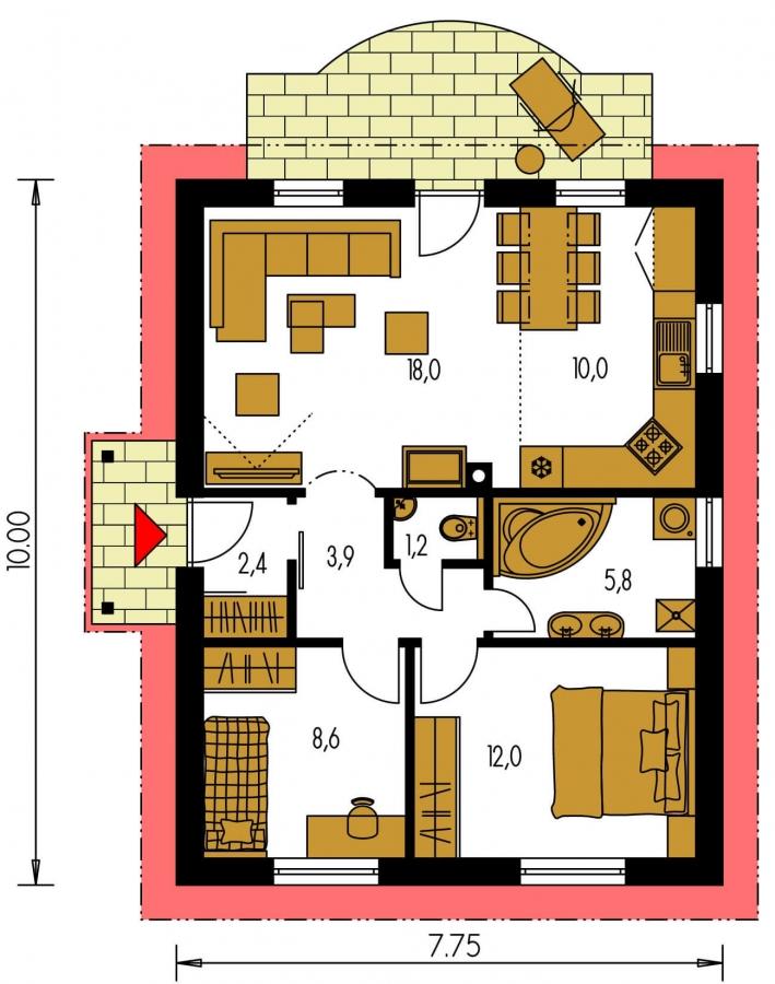Pôdorys Prízemia - Obľúbený murovaný rodinný  dom na malý pozemok s tromi izbami a sedlovou strechou.