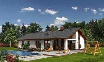 Úzky rodinný dom s prekrytou terasou, spracovaný v 3d realite.